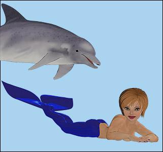 cartoon mermaid with texture